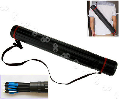 Black Ehindable Bow Archery Arrow Back Shoulder Quiver Holder Tube + Strap