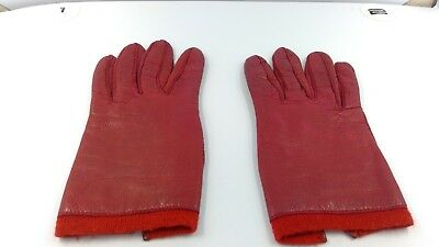 Vintage Red Leather Gloves Made in Italy for Casual Corner Angora Wool Lined