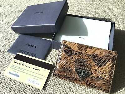 Rrp$750 Auth Prada Genuine Lizard Leather Compact Card Case Wallet Made In Italy