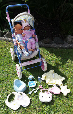 Pram with 2 Dolls and Accessories
