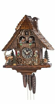 Cuckoo Clock Black Forest house with Forest scene and moving hunt.. HO 6209T NEW