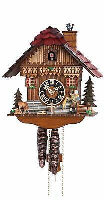Cuckoo Clock Black Forest house with moving clock peddler HO 160 NEW
