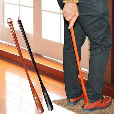 1Pc 55cm convenient flexible long handle shoehorn wooden shoe horn aid stick IO