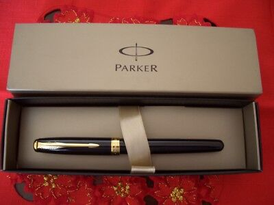 Parker Sonnet Rollerball Black Lacquered Gold Plated Refill Nero - France Made
