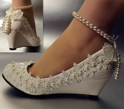 Wedding high white shoes heel low Lace crystal wedge Bridal flats