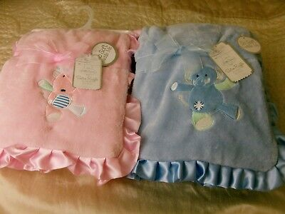 BABY  BLANKETS  PINK or BLUE  with  SATIN FRILL ** LITTLE DREAMS **
