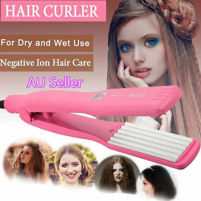 Hair Curler Crimper Iron Rollers Curling Anion Wave Wet Dry Wand Styling AUAU