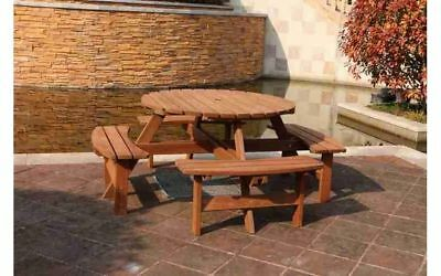 Wooden Round Garden Patio 8 Seater Pub Bench Outdoor Picnic Table Solid Pine New