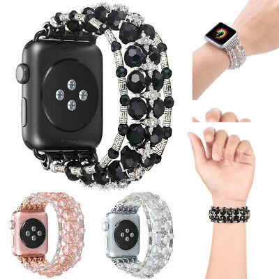 Bling Pearl Beads Crystal Strap Bracelet iWatch Band For Apple Watch 1 2 3 NEW