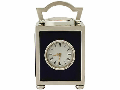 Sterling Silver Travelling Clock/Compass - Antique Victorian Height 8.8cm