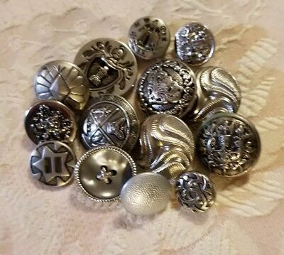 Lot Of Vintage Silver Tonsd Buttons