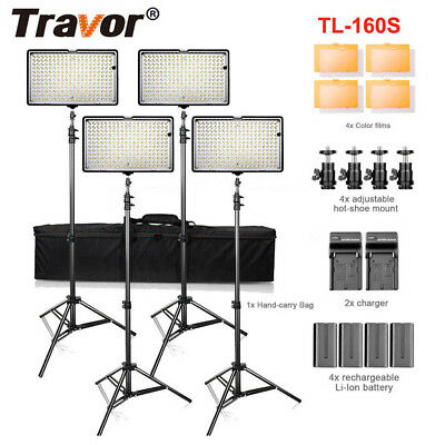Travor 4 Pack Dimmable Camera LED Video Light Panel and Stand Light & Batteries