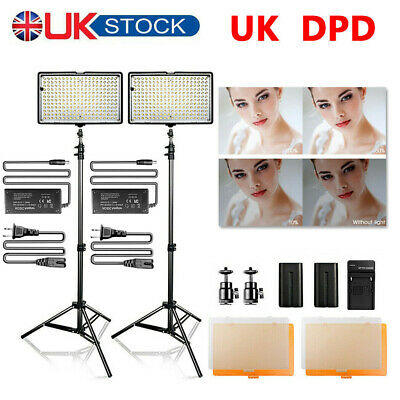 UK DPD LED Video Lighting Studio Lamp + 200CM Light Stand For Photography Camera