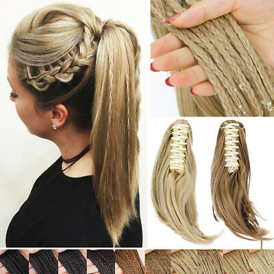 Ponytail & Braids Dutch Braid Claw Clip in Pony Tail Hair Extensions As Real TW