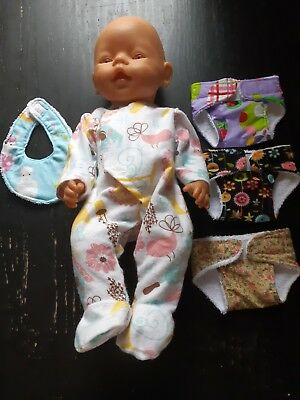 Homemade Baby Born Clearance Bundle 15: Coverall , 3 Nappies And Bib