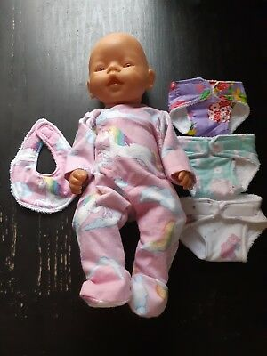 Homemade Baby Born Clearance Bundle 16: Coverall , 3 Nappies And Bib