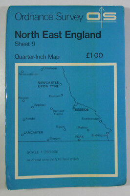 1975 Old Vintage OS Ordnance Survey Quarter-Inch Map Sheet 9 North East England
