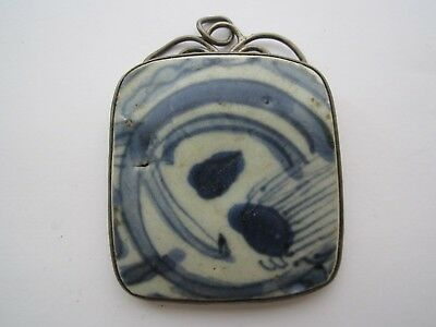 Antique Signed Chinese Blue White Glaze Large Pendant Set In Sterling Silver Nr