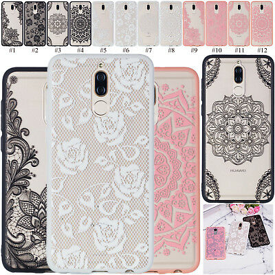 3D Embossed Clear Rigid PC+TPU Case Phone Cover For Huawei P Smart Y6 Y7 Y5 2018