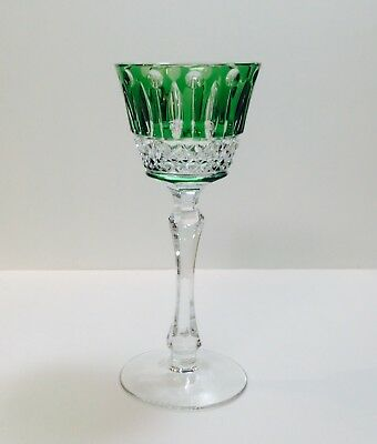 1 Faberge Xenia Emerald Green Cut TO Clear Crystal Liqueur Cordial SIGNED