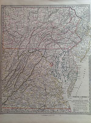 North America Pensylvania New Jersey 1853 J. C. Walker Map Map United States