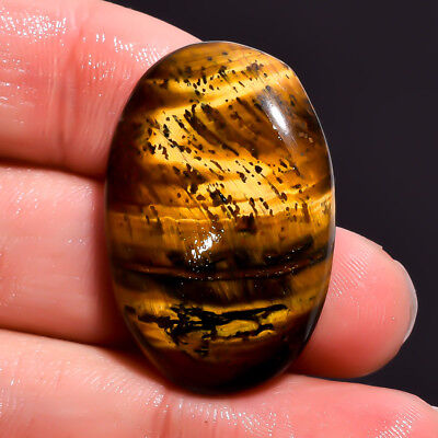 38.65 Ct. 100% Natural Tiger Eye Oval Cabochon Loose Gemstone 32X21X7 mm DS-3480