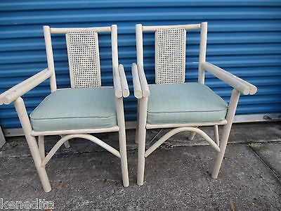 Pair Bamboo Arm Chairs Rattan 2 Dining Patio Side Hollywood Regency Tropical MCM
