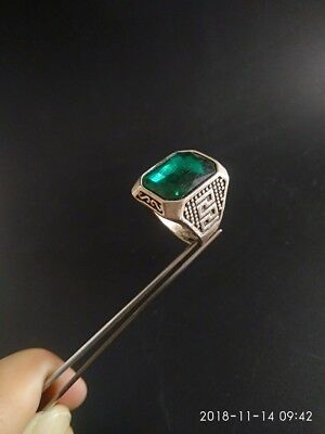 EXQUISITE CHINESE Old Tibet SILVER copper HANDWORK INLAID FASHION green RING RT9