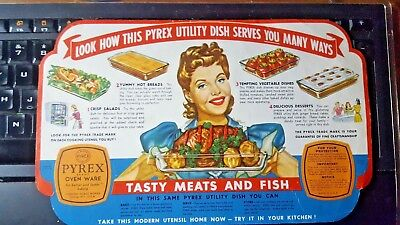 Original 1960 Pyrex Oven Ware Label With Recipes Bright Colors & Graphics