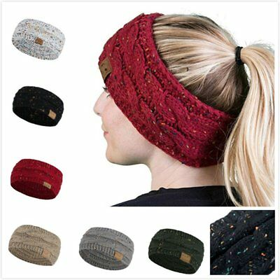Winter Women Warm Headband Ponytail Knitted Cap Ear Protection Hairband  n1