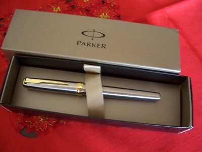 Parker Sonnet Rollerball Silver E Gold Plated Refill Nero - France Made