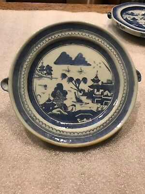 Antique 1850's Chinese Canton Blue White Warming Dish Plate Pagodas Bridge Water