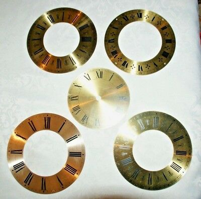 5 x Replacement Clock Face/Chapter Rings - Brass/Gold Coloured