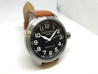 Chotovelli Big Pilot Watch Black Aviation Dial Italian tan leather Strap 60.01