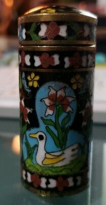 Beautiful Vintage Asian Cloisonne Duck Pond Toothpick Holder W/Lid