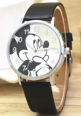 Mickey Mouse Custom Black Leather Band Wrist Watch Brand New