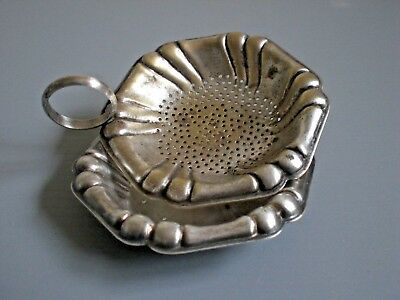 TEA STRAINER, SP. & DRIP TRAY HOLDER, ANTIQUE COLLECTABLE, kitchenalia, old