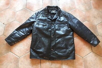 Reportage Men's Italian Soft Faux Leather Lined Jacket In Black - Size Xl