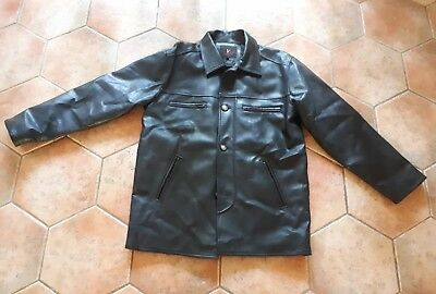 Mens Italian Soft Faux Leather Black Jacket - Size L