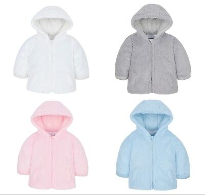 Baby Coat Jacket Hooded Snuggle Fleece Pink Blue Grey White 3-6 6-9 9-12 Months