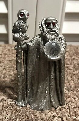 Fantasy Mythical Magic Spoontiques Gem Pewter Wizard & Owl Red Eyes Crystal Ball