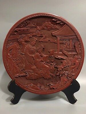 Chinese Antique lacquer Hand painted Loving couple plate Home office decoration