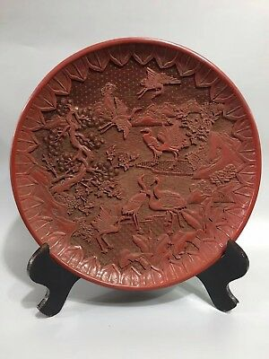 Chinese Antique lacquer Hand painted Crane plate Home office decoration