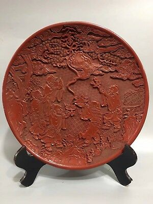 Chinese Antique lacquer Hand paintedlongevity poet plate Home office decoration
