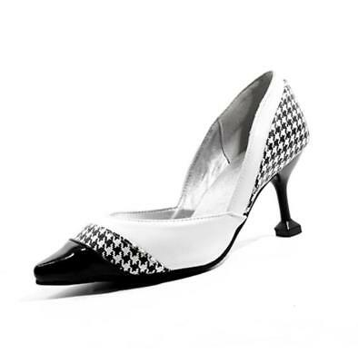 bd446b040c72a Women Stitching Plaid Pointy Toes Slip On High Heel Stiletto Casual Party  Shoes