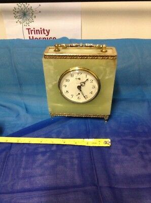 Heavy Vintage Green Onyx and Ornate Brass Mantle Clock