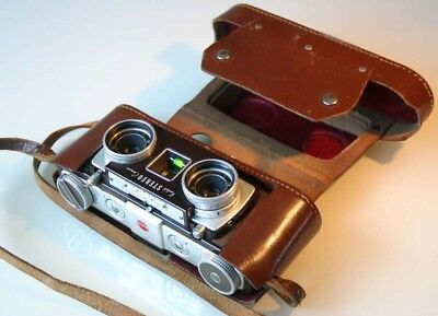 GOOD CONDITION WORKING KODAK STEREO CAMERA (35mm) 1954-9 with LEATHER CASE