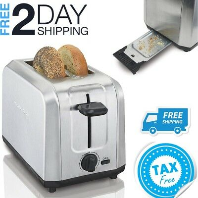 Small Toaster For Rv Camper Compact Wide 2 Slice Bagel Bread Stainless Steel