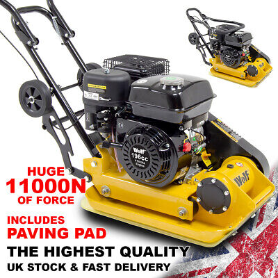 Wolf 11000N Petrol Compactor Plate with Wheels & Paving Pad 163cc Wacker Plate