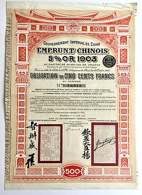China 1903 Emprunt Chinois 5% Bond Chinese Loan for 500 Francs